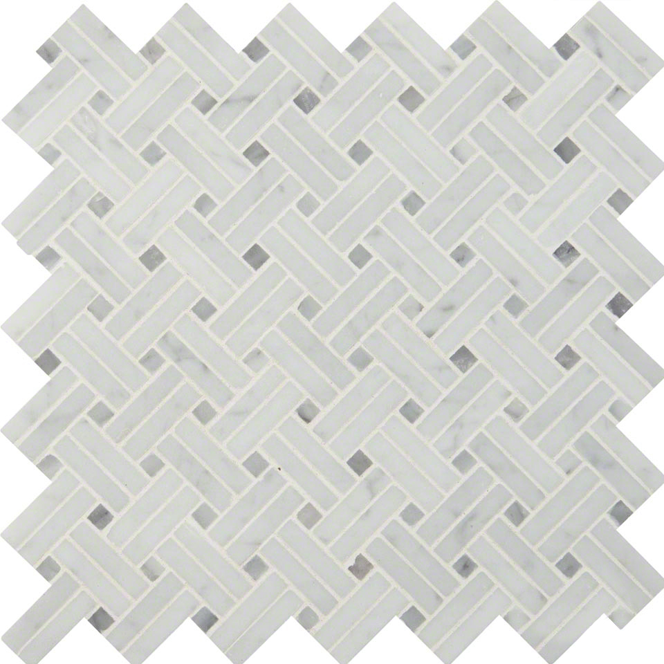 Carrara White Basketweave Pattern Polished Colonial Marble Granite