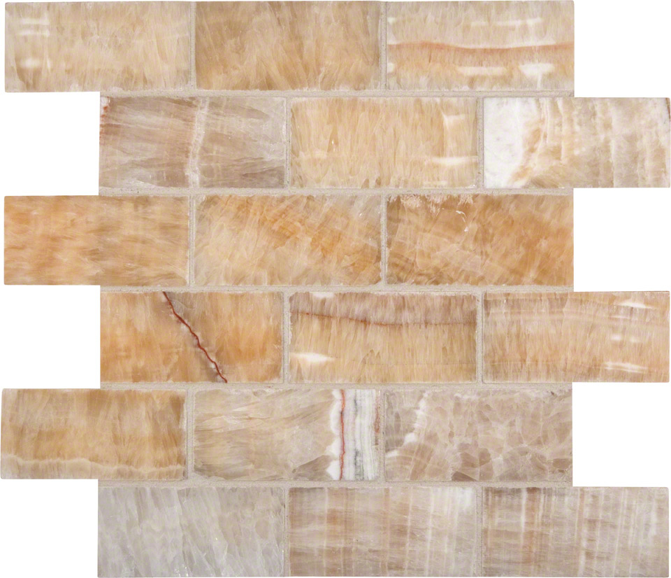 Honey Onyx 2x4x8mm Subway Tile In 12x12 Mesh - Colonial Marble ...
